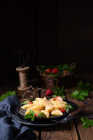 Kopytka - polish potato dumpling with strawberries