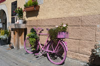 Aigle, VD / Switzerland - 31 May 2019: idyllic restaurant house front in the village of Aigle with a pink bicycle covered in platns