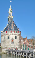 Main Tower called Hoofdtoren in Hoorn at Markermeer,part of Ijsselmeer,Netherlands
