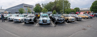 Panoramic view of a range of classic Mercedes-Benz cars.
