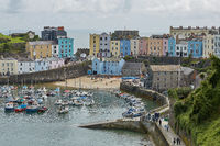 Tenby and castle in Wales, England