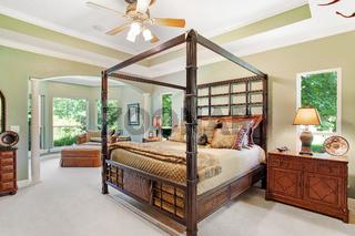 Bedroom Interior Home New Hard Wood Luxury Comfortable Cozy Bright Lighting Sunny House Indoor Inside