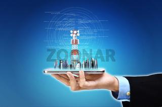 Internet Wireless broadband connection concept