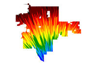 Tulsa city (United States of America, USA, U.S., US, United States cities, usa city)- map is designed rainbow abstract colorful pattern, City of Tulsa map made of color explosion,