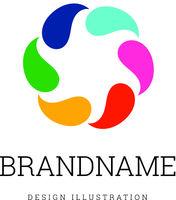 Round logo sample design vector illustration on white