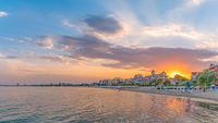 Sunset at the beach in Sunny Beach on the Black Sea coast of Bulgaria. Panoramic view