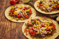 Healthy corn tortillas with grilled beef, fresh hot peppers, cheese, tomatoes