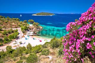 Idyllic Adriatic beach Bilo near Primosten view