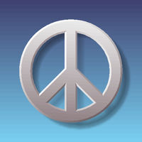 Peace symbol on blue background with shadow.