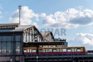Train on the platform of Friedrichstrasse station in Berlin
