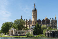 Schwerin castle, Schwerin lake, Schwerin, Mecklenburg-Western Pomerania, Germany, Europe