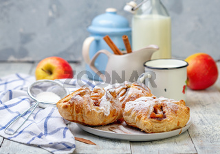 Puffs with apple and cinnamon filling.