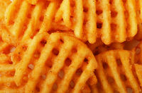 Crispy potato waffles fries, wavy, crinkle cut, criss cross cries