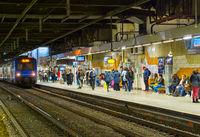 Train arrives Paris underground station