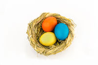 Three chicken eggs painted in bright paint in a nest woven of herbs