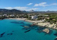 Aerial distant waterside view Peguera beach, Palma de Mallorca, Spain