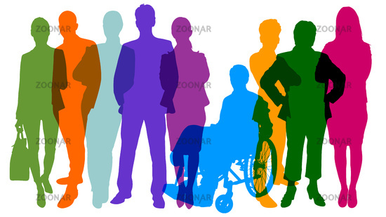 Silhouetten von Menschen als Bevölkerung und Team Konzept