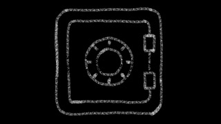 safe icon, designed with drawing style on a blackboard, an animated footage ideal for compositing and motiongrafics