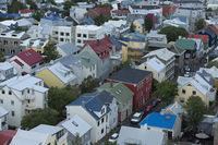 Reykjavik, capital city of Iceland. Tipical icelandic houses upper view.