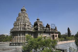 Sangameshwar temple from the period of Peshwas in basalt stone masonry at Saswad, Pune