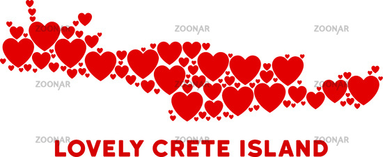 Vector Love Crete Island Map Composition of Hearts