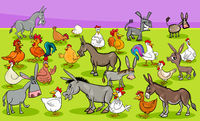 chickens and donkeys farm animal characters group