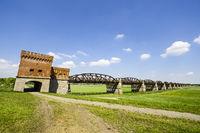 Ruins of f Elbe bridge Dömitz, Lower Saxony, Germany