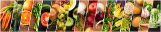 Organic Food Collage. Many photos of fresh vegetables, panoramic vegan design