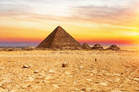 The Pyramid or Menkaure and the Pyramids of the queens at sunset, Giza, Egypt