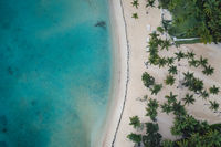 Drone shot of republic Dominican beach