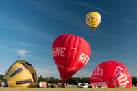 KIEL, GERMANY - JUNE 22, 2019: During the Kieler Woche 2019 Hot Air Balloons take off at the Interna