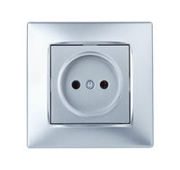 Front view of silver electric outlet