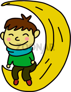 A happy boy sitting at the moon, vector color illustration.