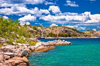 Island of Krk stone beach in Omisalj view