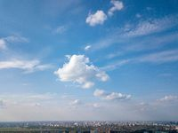 Panoramic view of the modern city of Kiev against the blue sky,Ukraine. Photo from the drone