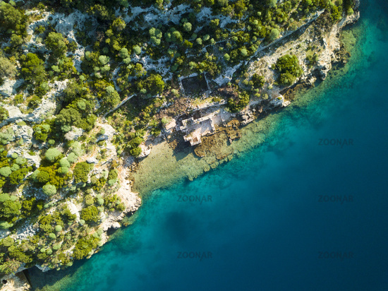 Birds Eye Aerial View Sunken City Kekova Turkey