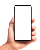 hand holding bezel-less smartphone