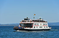 The ferry Friedrichshafen crossing Lake Constance in regular passenger and car service