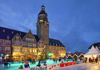Christmas market with rink in front of the town hall, Alt-Remscheid, Remscheid, Germany, Europe