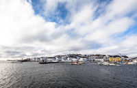 Risor, Norway - March 16, 2018: The city and harbour of Risor, Norway