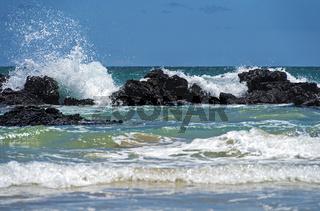 Wellen brechen sich an den Lavafelsen der Küste, Insel Isabela, Galapagos Inseln, Ecuador