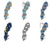 Karten von Schweden mit verschiedenen Wettersymbolen - Maps of Sweden with various weather symbols