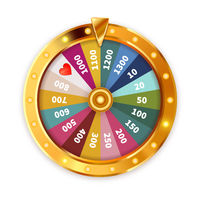 Bright Golden Wheel of Fortune with lighting bulbs on white