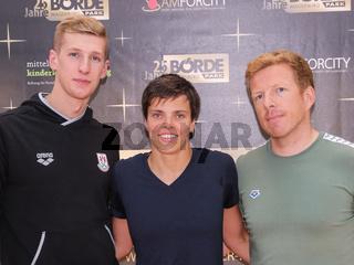Florian Wellbrock , Franziska Hentke und Trainer Bernd Berkhahn alle SC Magdeburg DSV