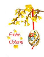 Ostern, Frohe Ostern!, Osterkarte, Osterei, Forsythie, Schrift, Text, Textraum, copy space,