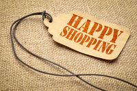 happy shopping - text on a price tag
