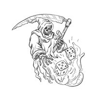 The Grim Reaper Rolling the Dice Drawing Black and White