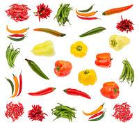 various fresh pepper vegetables isolated on white