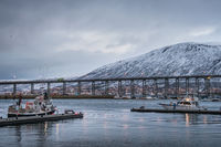 Tromso Bridge across Tromsoysundet strait and Tromso harbour