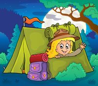Scout girl in tent theme 4
